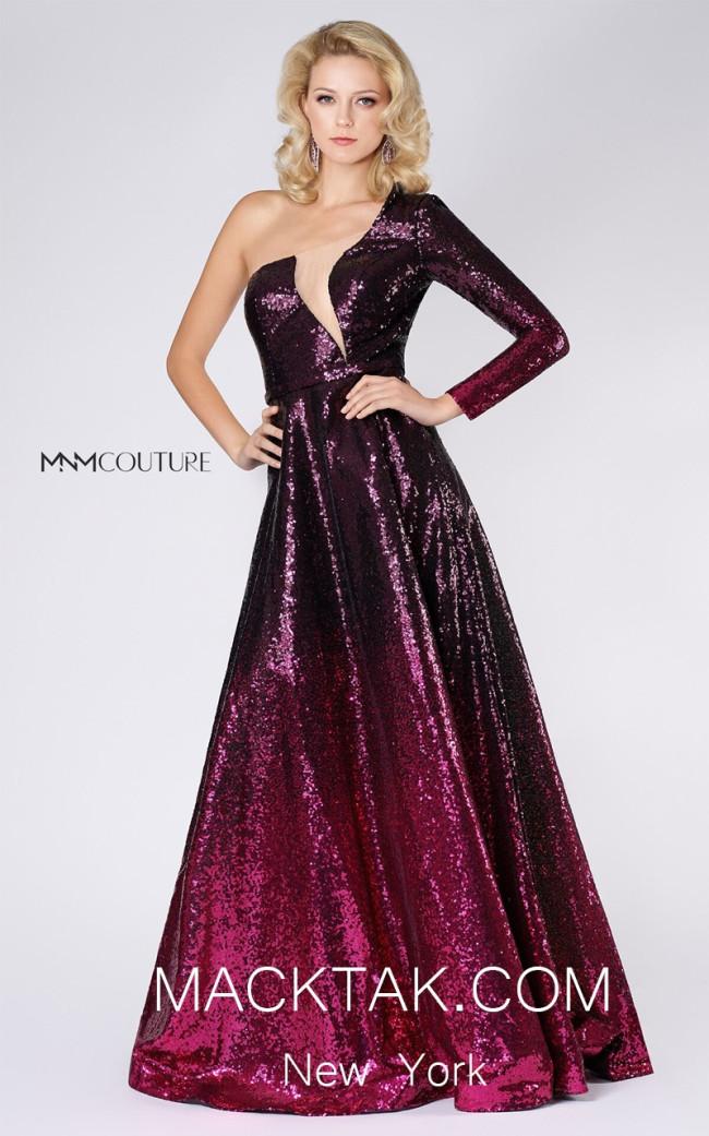 MNM M0039 Burgundy Front Evening Dress