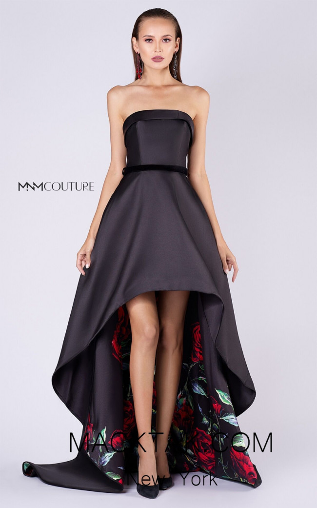 MNM M0046 Black Front Evening Dress