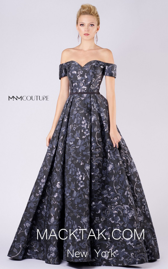MNM M0047 Black Front Evening Dress