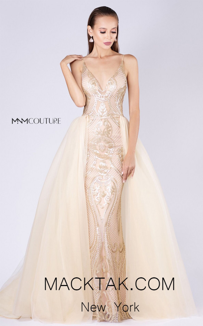 MNM M0048 Gold Front Evening Dress