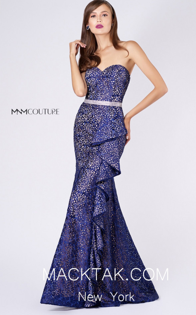 MNM M0054 Royal Blue Front Evening Dress