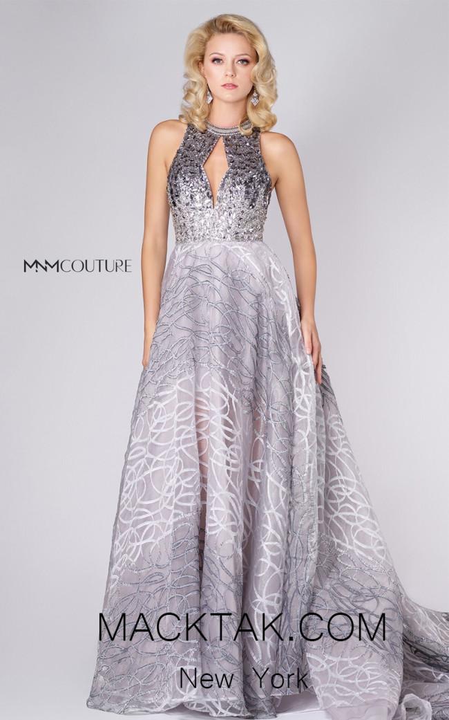 MNM M0056 Silver Front Evening Dress
