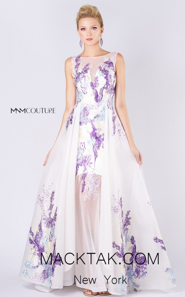MNM M0058 White Purple Front Evening Dress