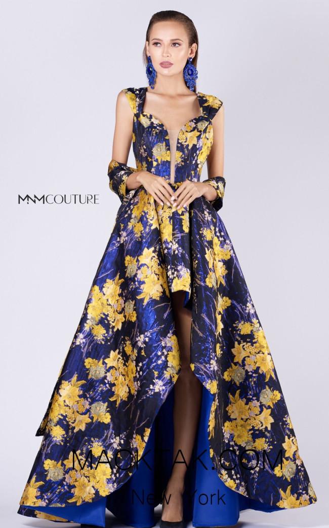 MNM M0061 Black Yellow Front Evening Dress