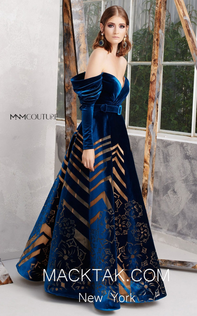 MNM N0279 Teal Front Evening Dress