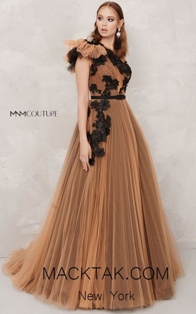 MNM N0282 Nude Black Front Evening Dress