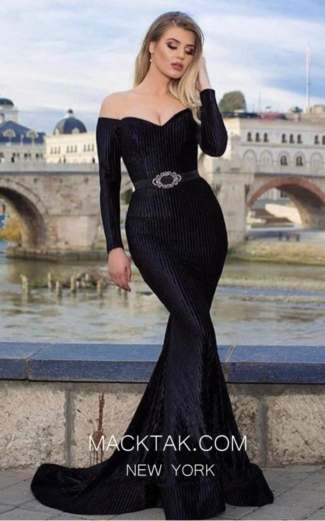TK MT3943 Black Front Evening Dress