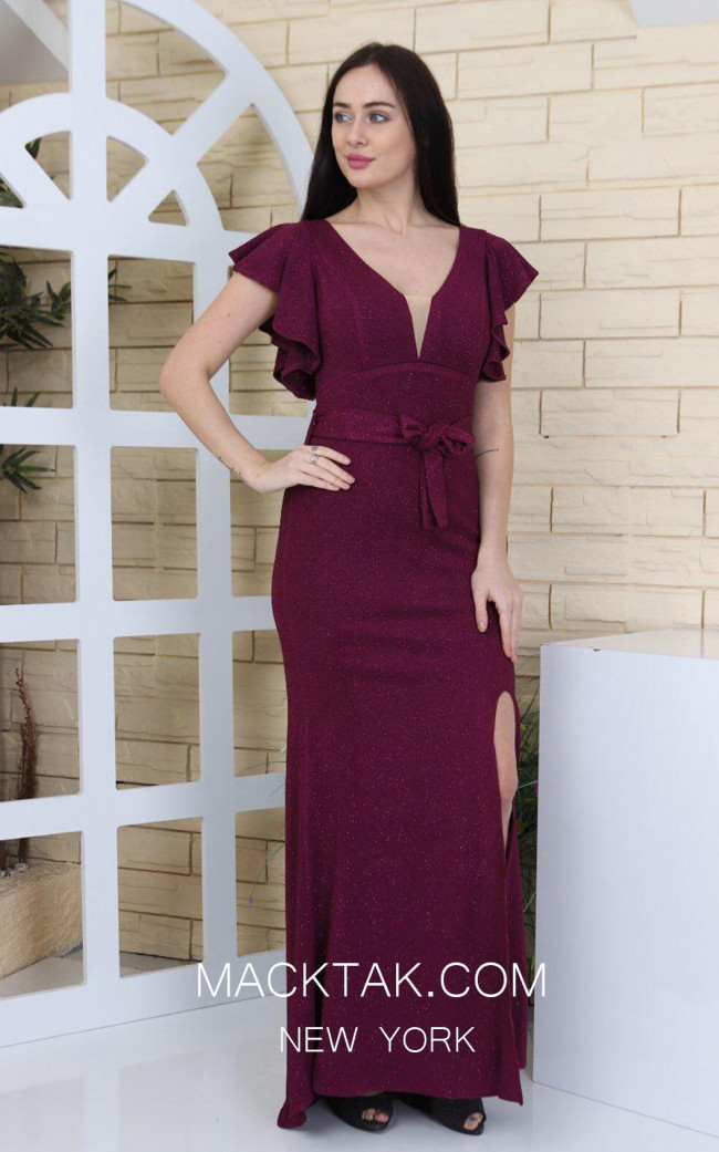 TK MT3944 Bordo Front Evening Dress
