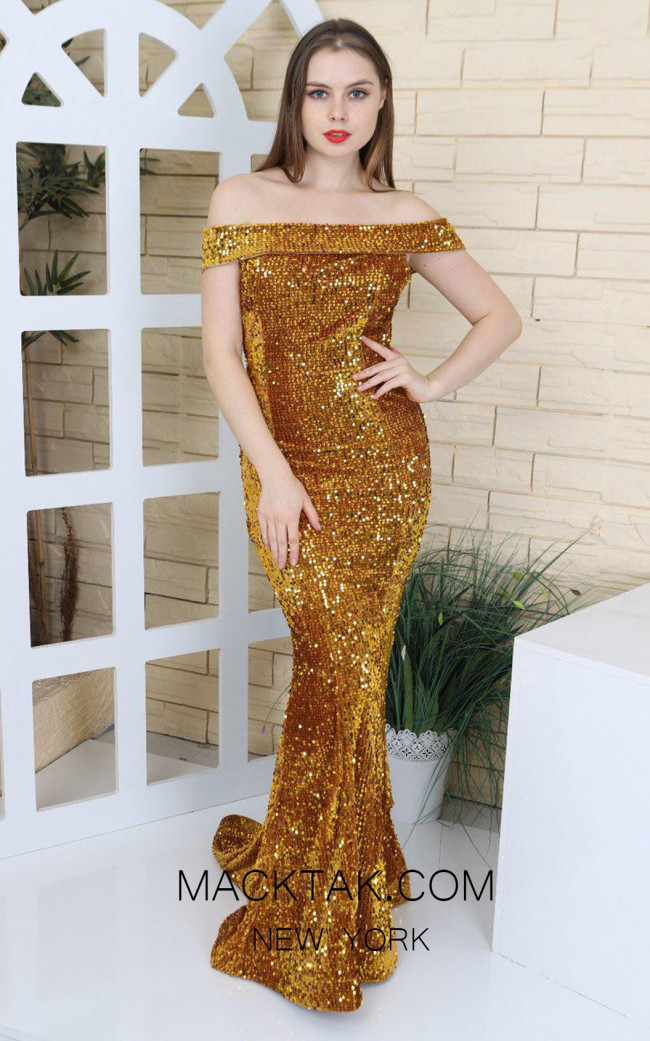 TK MT3945 Gold Front Prom Dress