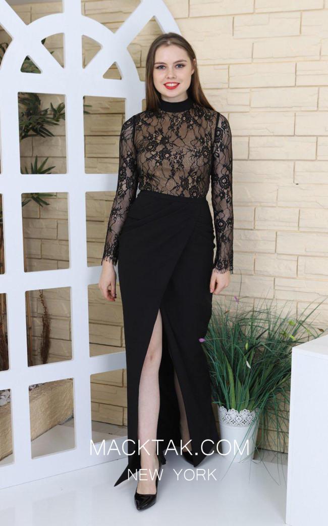 TK MT3946 Black Front Evening Dress
