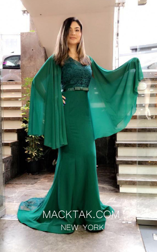 TK MT3948 Green Front Evening Dress