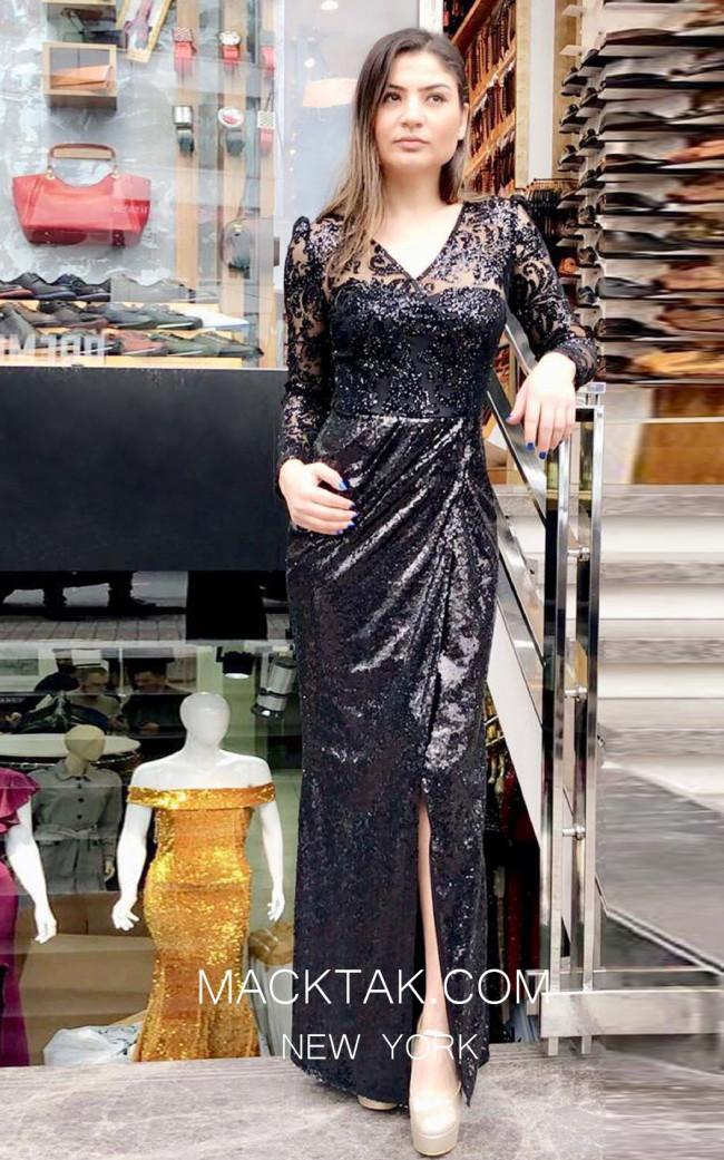 TK MT3949 Black Front Evening Dress