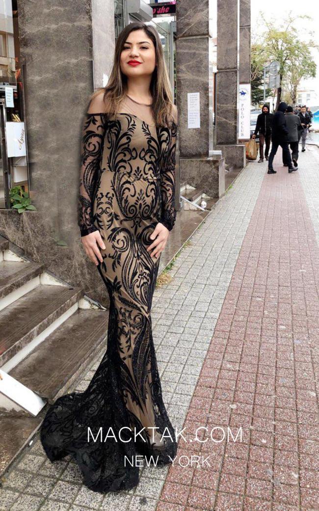 TK MT3950 Black Nude Front Evening Dress