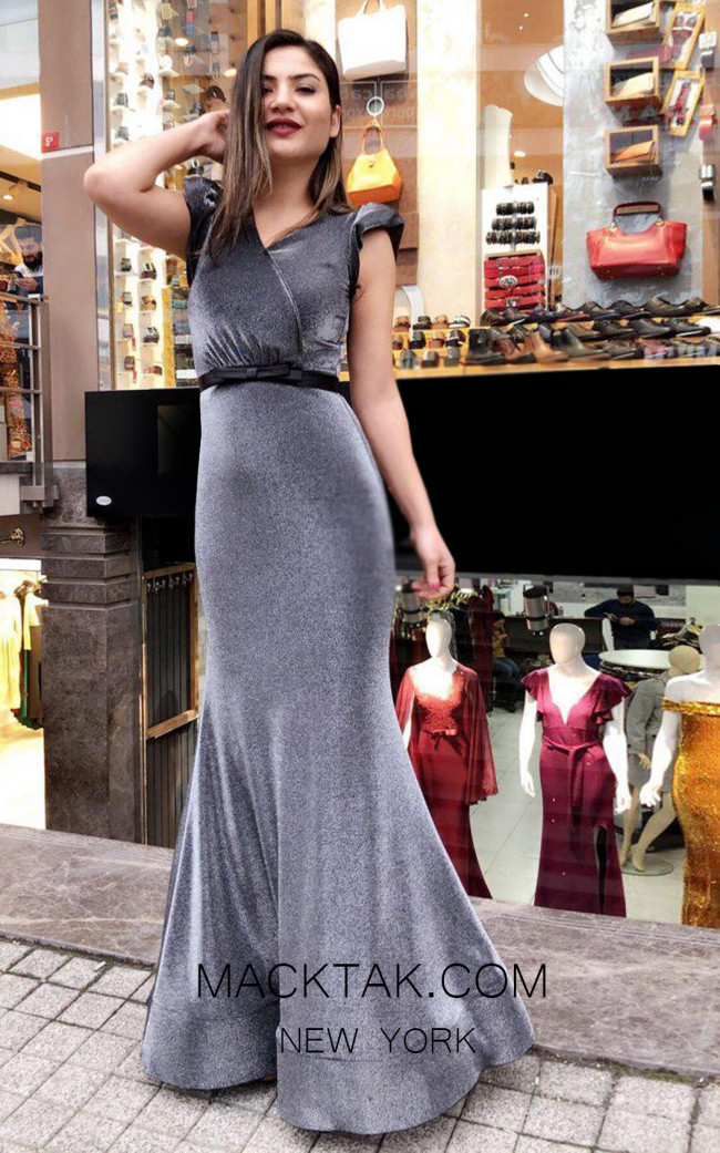 TK MT3959 Gray Front Prom Dress