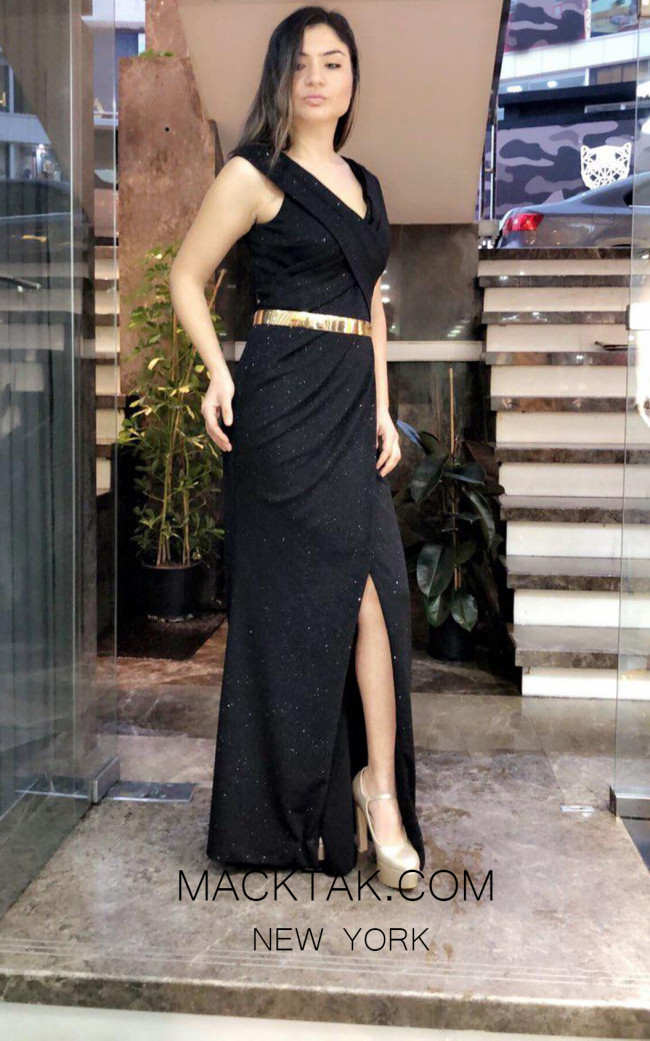 TK MT3962 Black Front Evening Dress