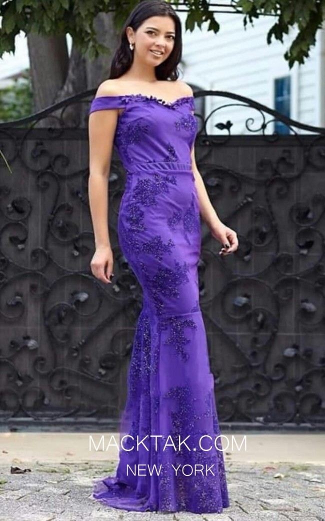 TK MT3965 Purple Front Evening Dress