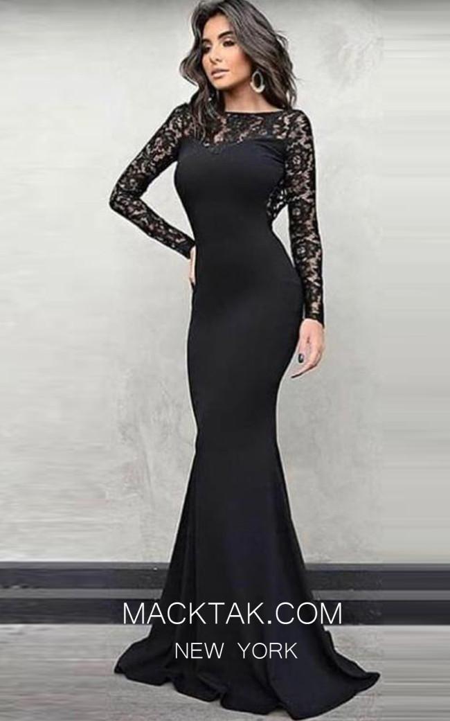 TK MT3968 Black Front Evening Dress