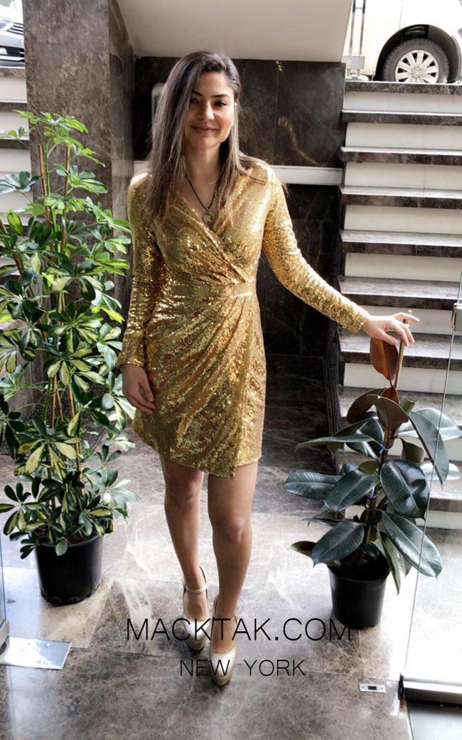 TK MT3971 Gold Front Short Dress