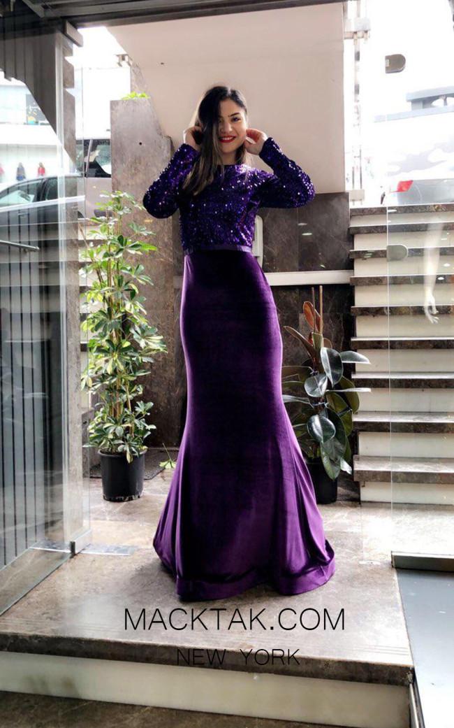 TK MT3974 Purple Front Evening Dress
