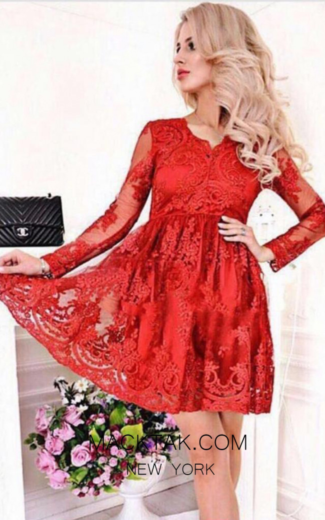 TK MT3975 Red Front Short Dress