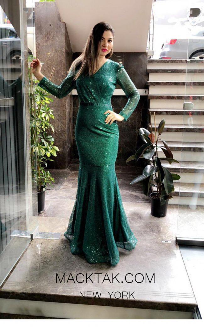 TK MT3977 Green Front Evening Dress