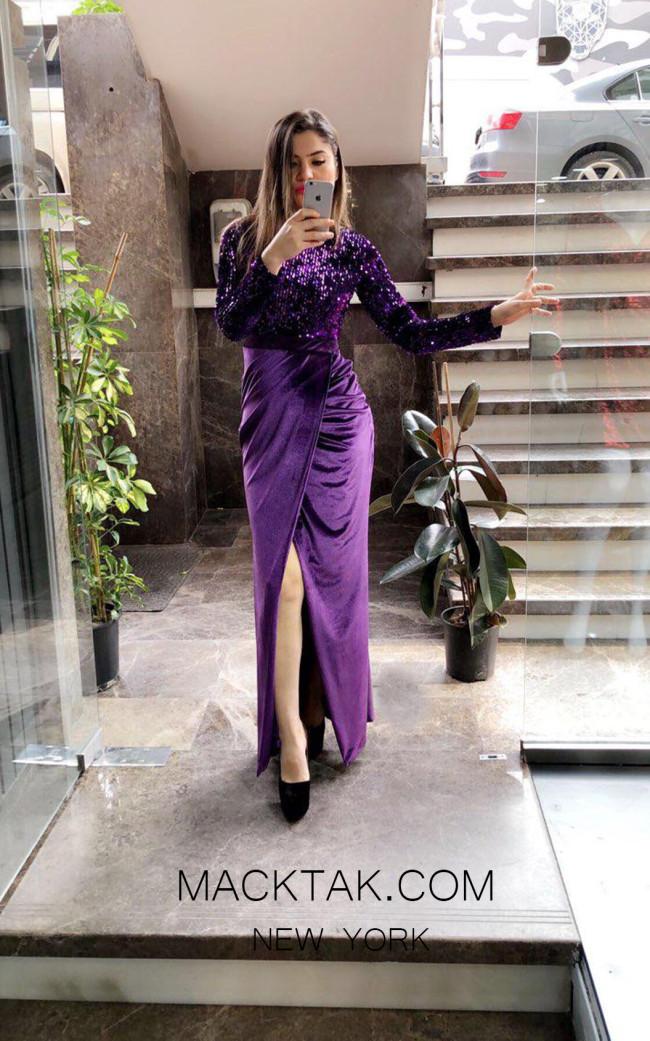 TK MT3979 Purple Front Evening Dress