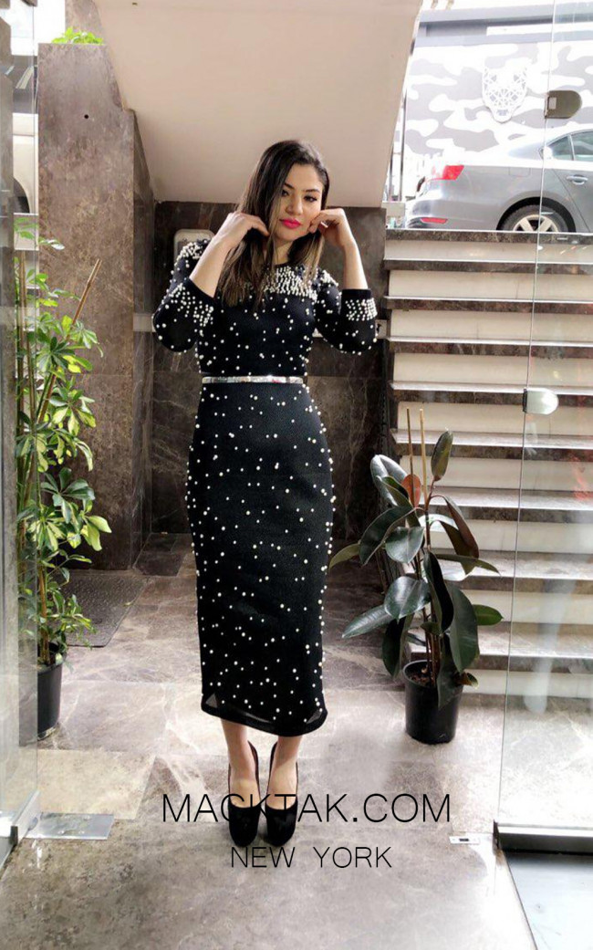 TK MT3980 Black Front Evening Dress
