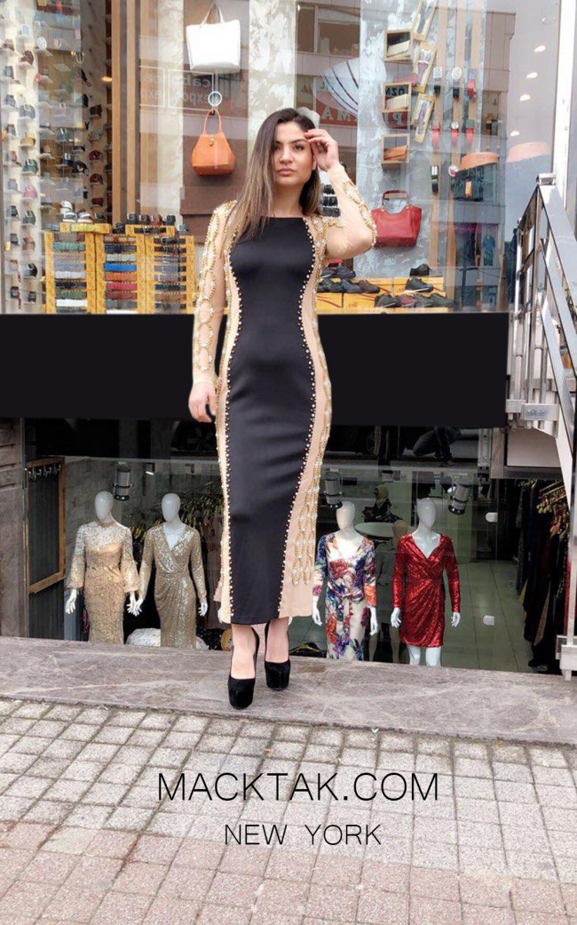 TK MT3989 Black Nude Front Evening Dress
