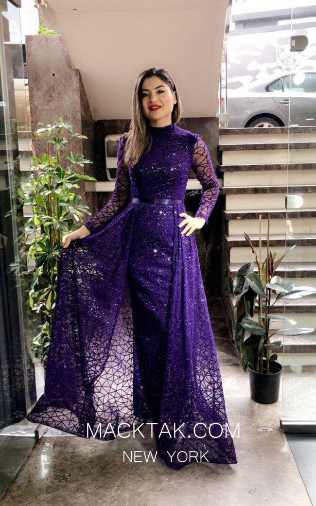 TK MT3992 Purple Front Dress
