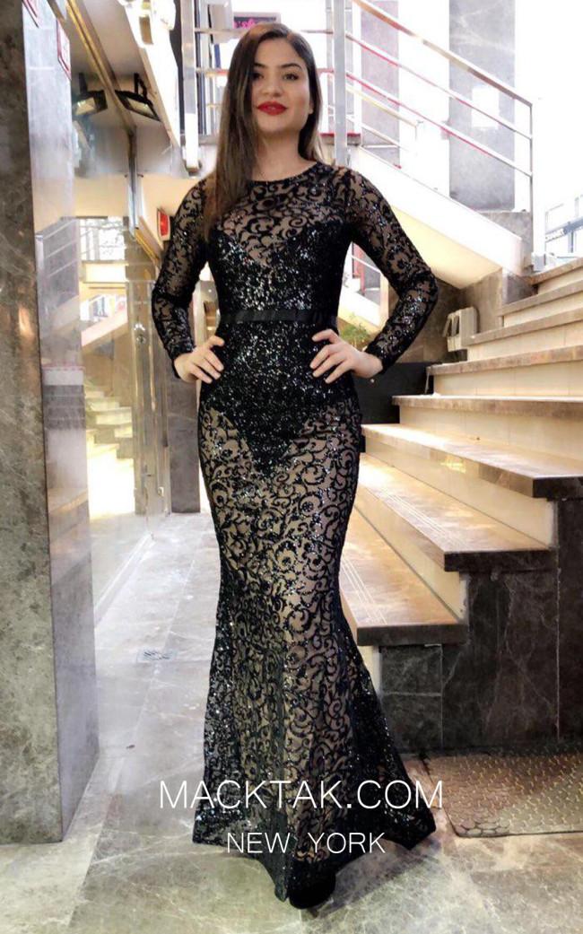 TK MT3993 Black Front Dress