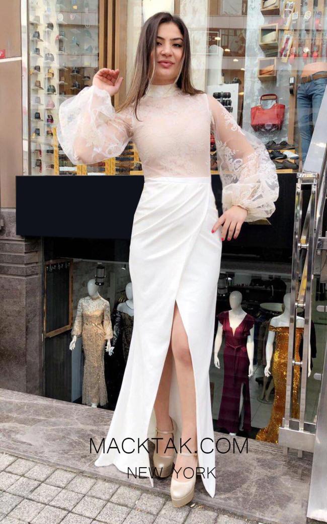TK MT3995 White Front Dress