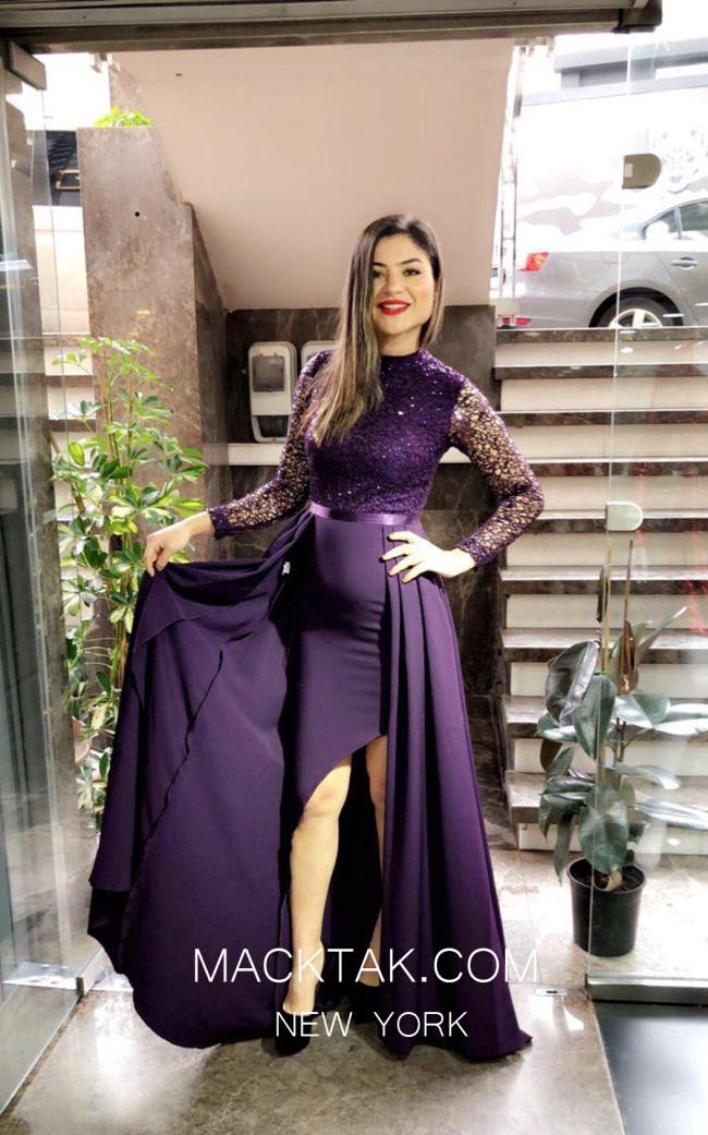TK MT3997b Purple Front Dress