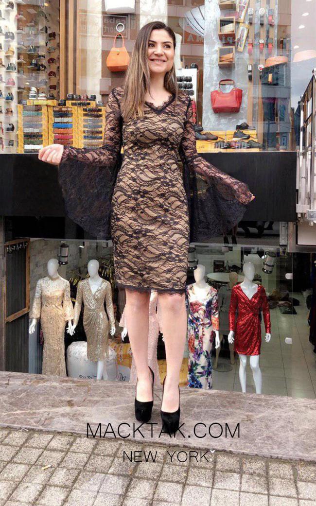 TK MT4901 Black Nude Front Dress