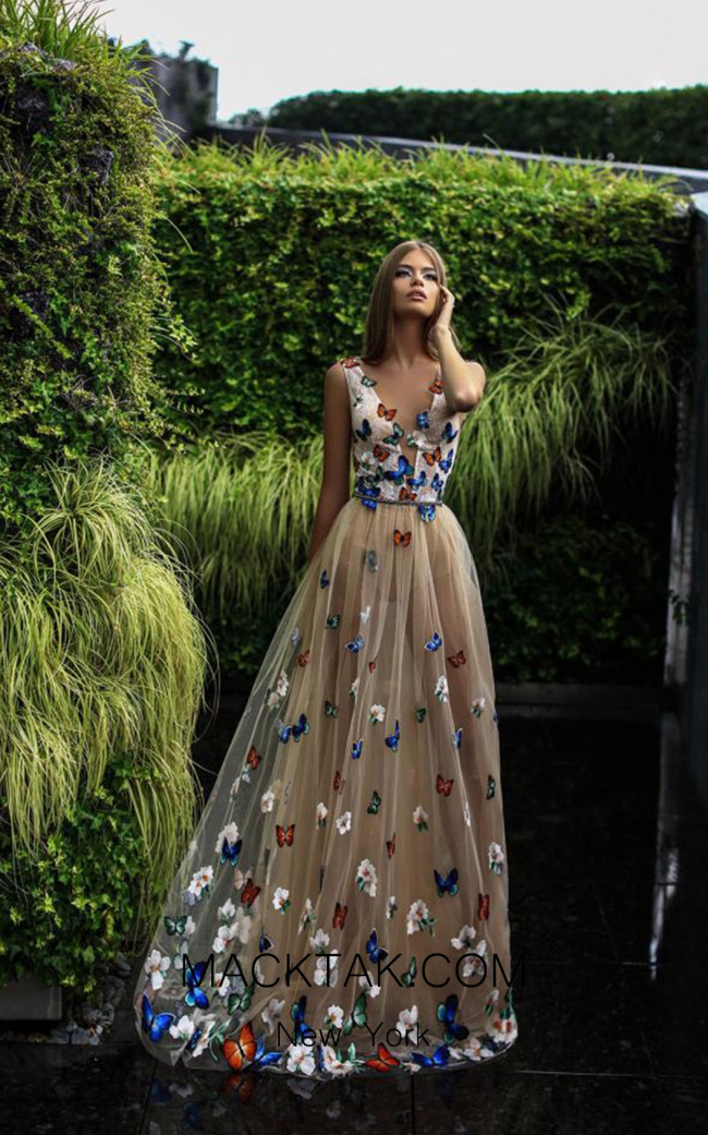 Pollardi Mira 09014 Beige Front Evening Dress