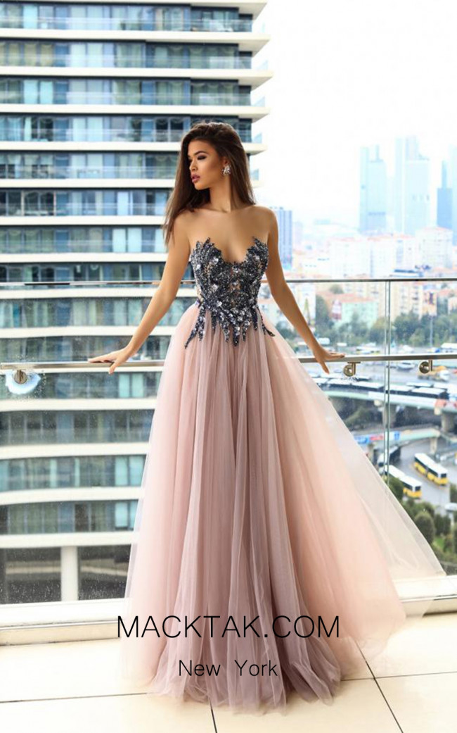 Pollardi Vega 09020 Loganberry Front Evening Dress