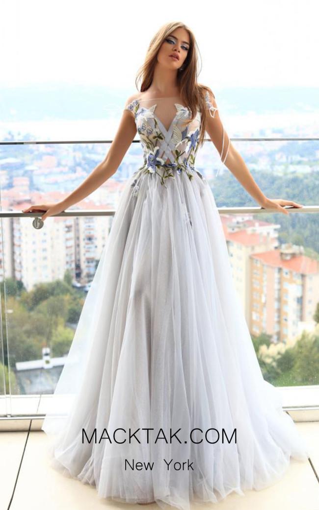 Pollardi Sirma 09008 Illusion Blue Front Evening Dress