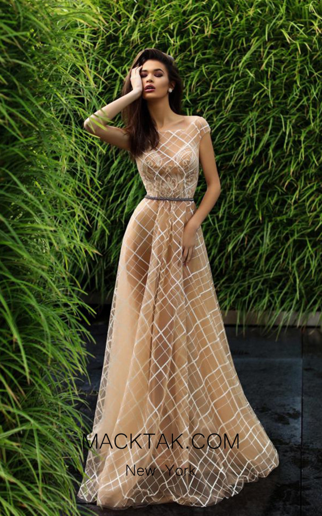 Pollardi Aliya 09012 Dawn Pink Front Evening Dress
