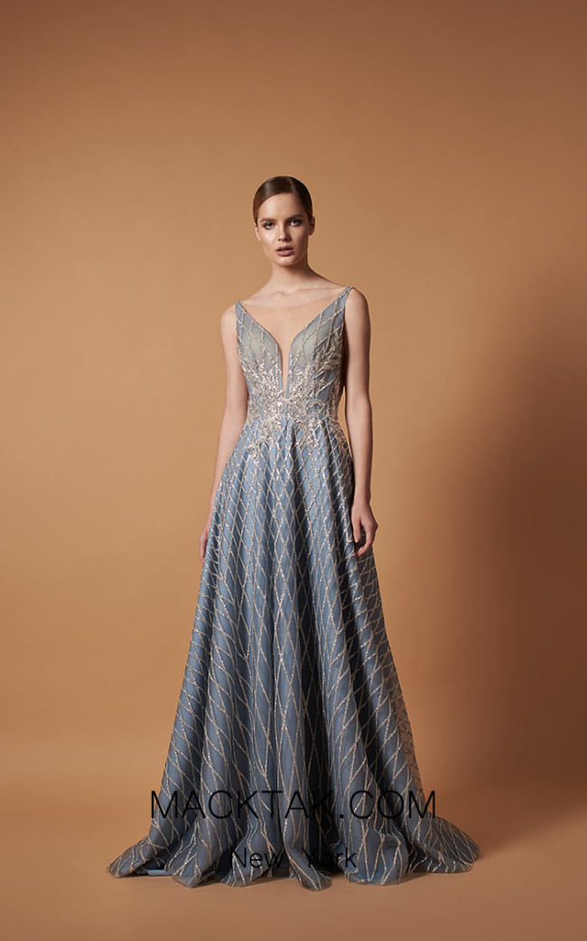 Pollardi 5096 Silver Blue Front Dress