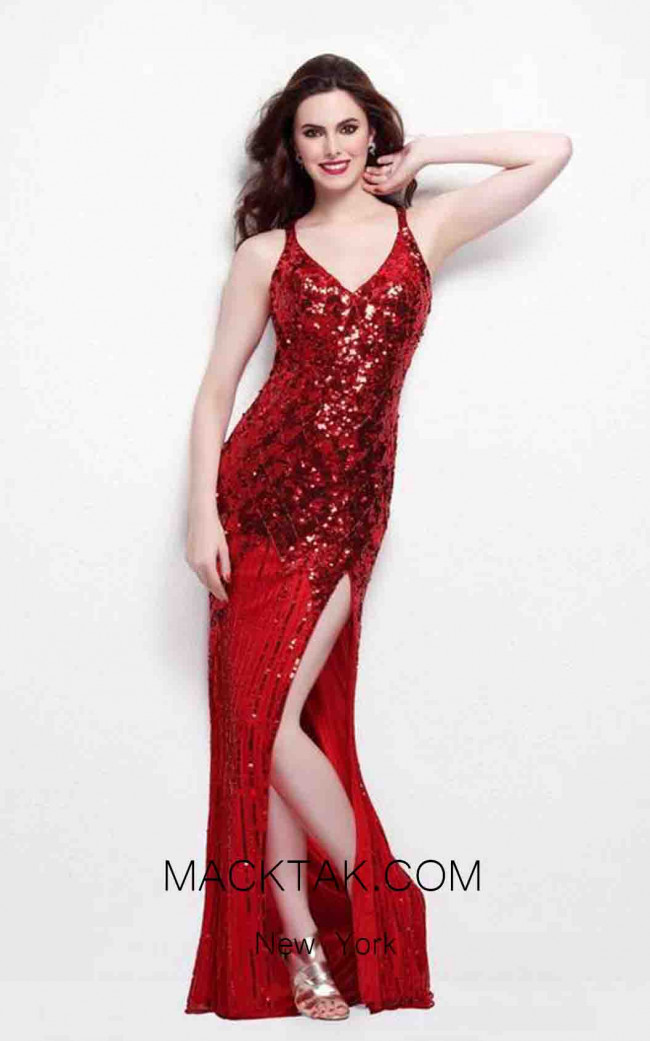 Primavera Couture 9490 Red Front Dress