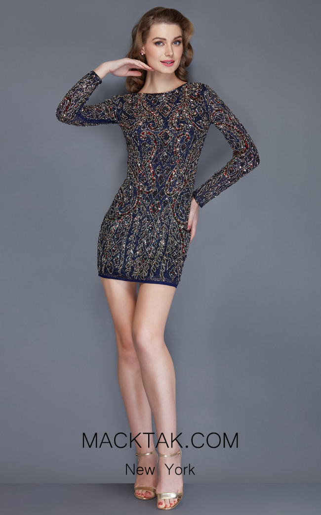 Primavera Couture 3145 Midnight Multi Front Dress