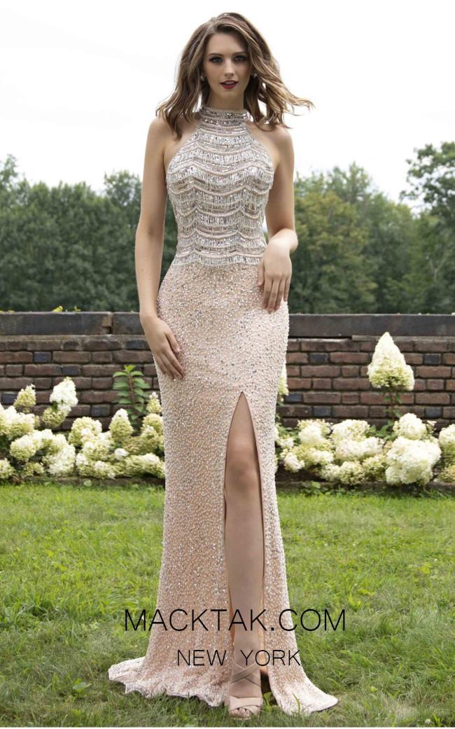 Primavera Couture 3203 Front Peach Prom Dress
