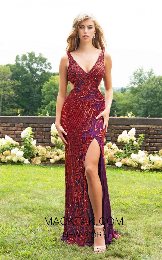 Primavera Couture 3208 Front Red Plum Dress