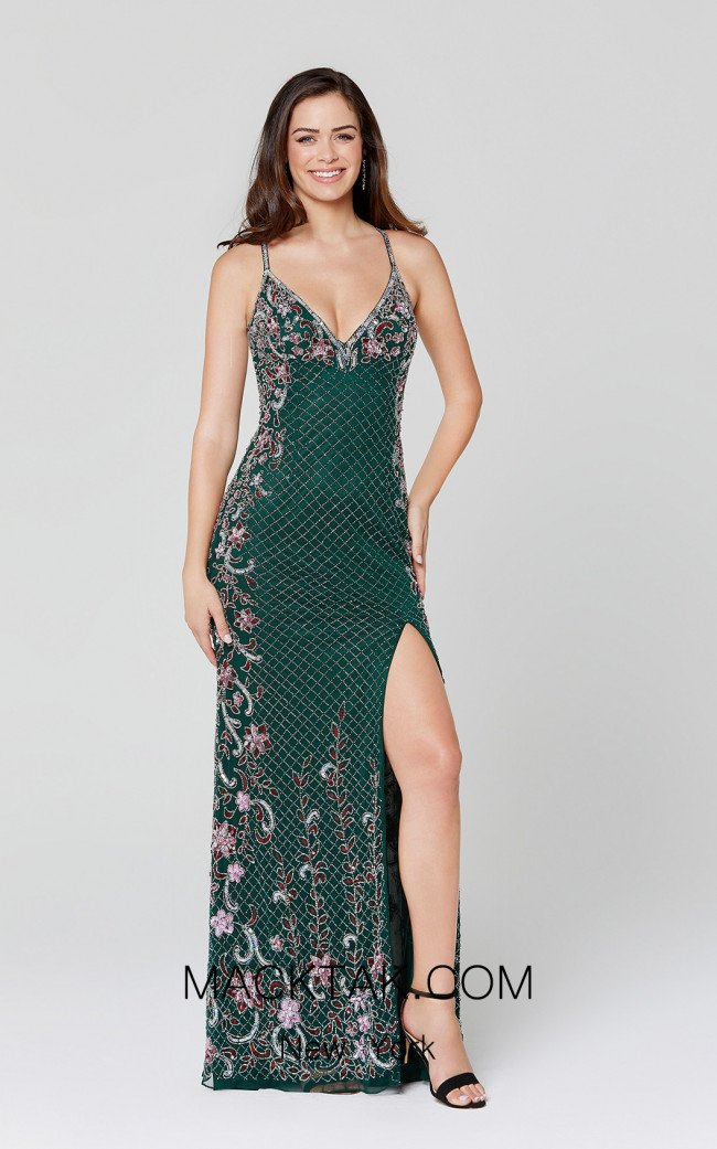 Primavera Couture 3405 Forest Green Front Dress