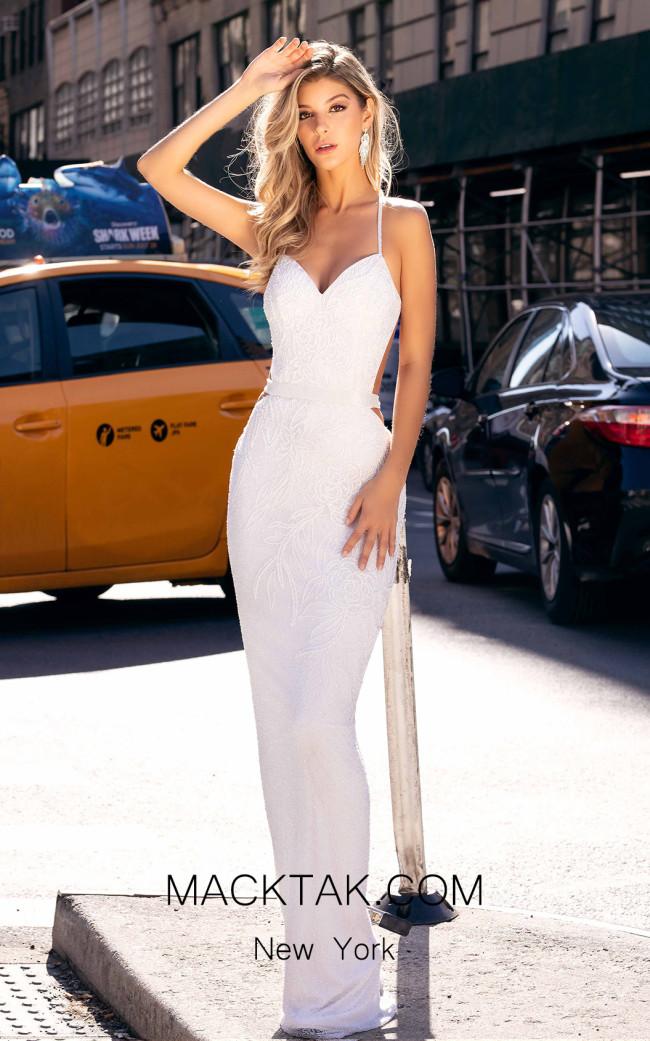 Primavera Couture 3406 White Front Dress