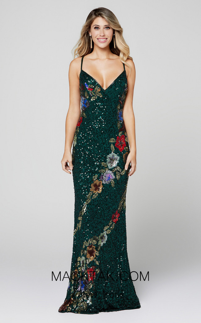 Primavera Couture 3410 Forest Green Front Dress