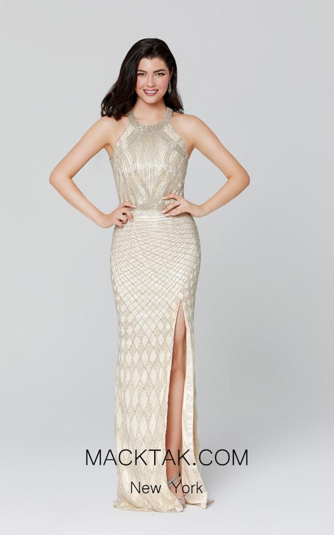 Primavera Couture 3411 Nude Silver Front Dress
