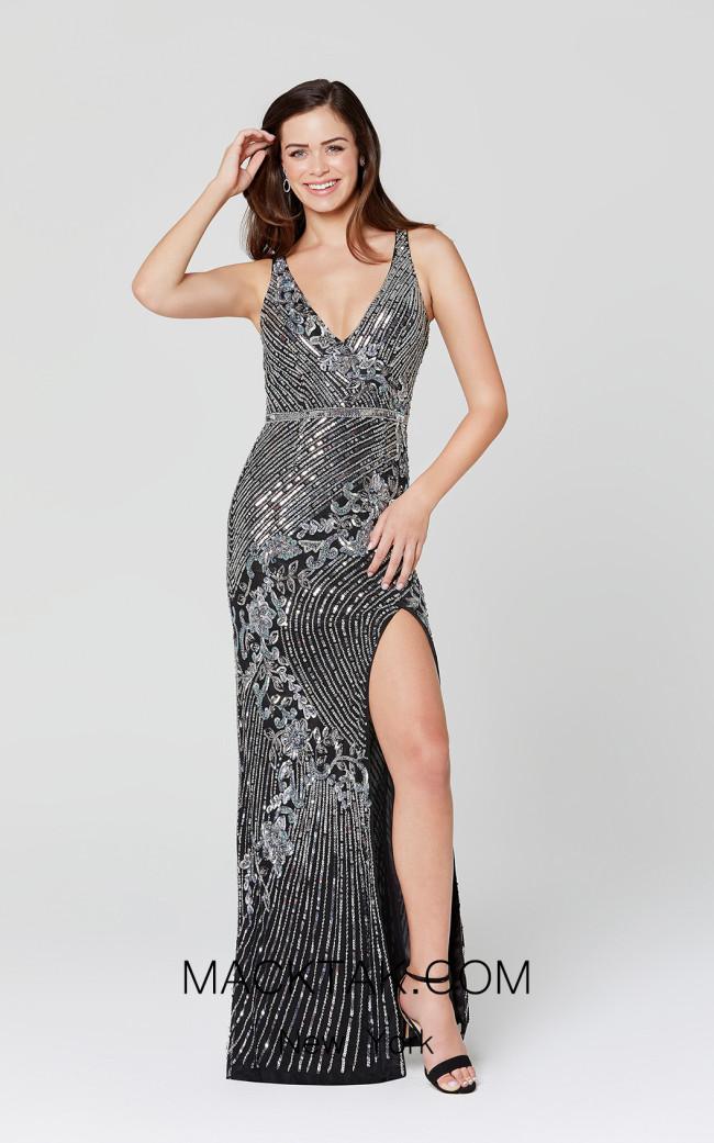 Primavera Couture 3412 Black Silver Front Dress