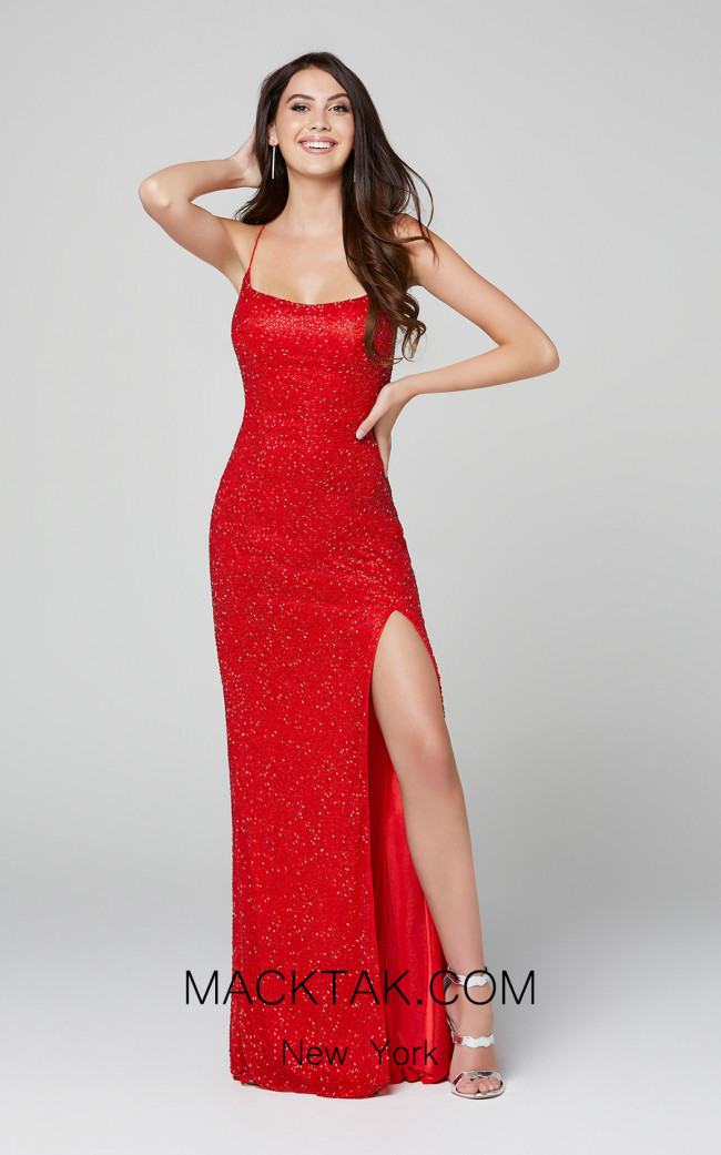 Primavera Couture 3413 Red Front Dress