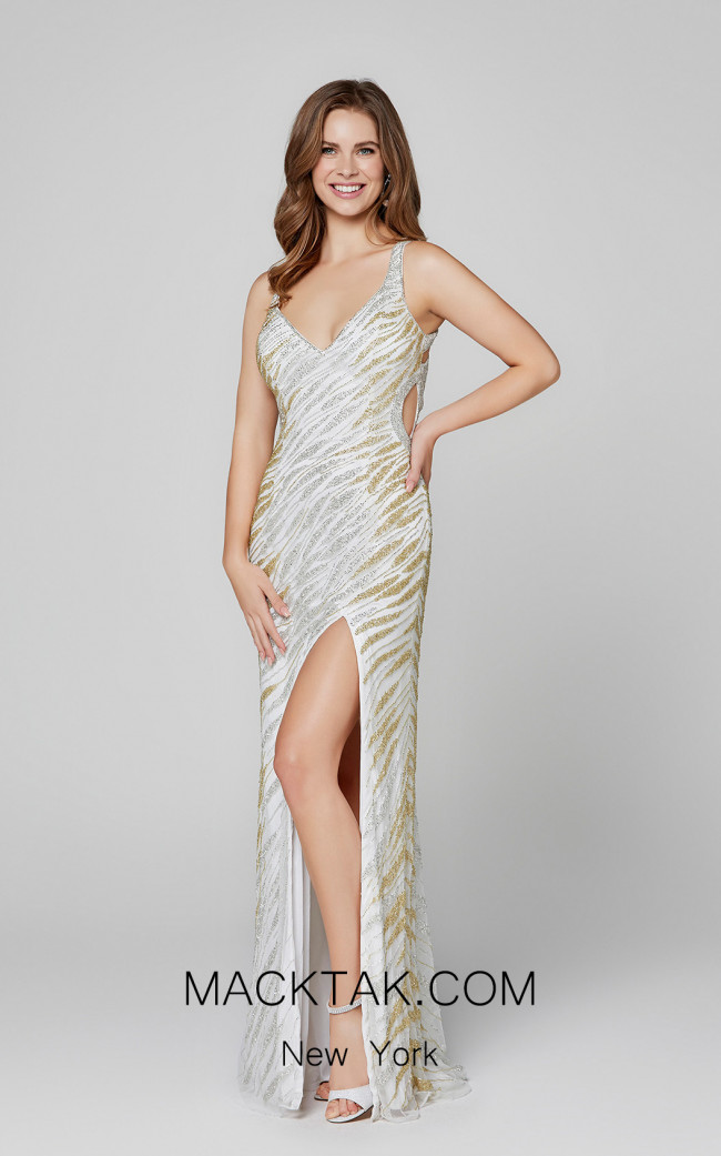Primavera Couture 3417 Ivory Gold Front Dress