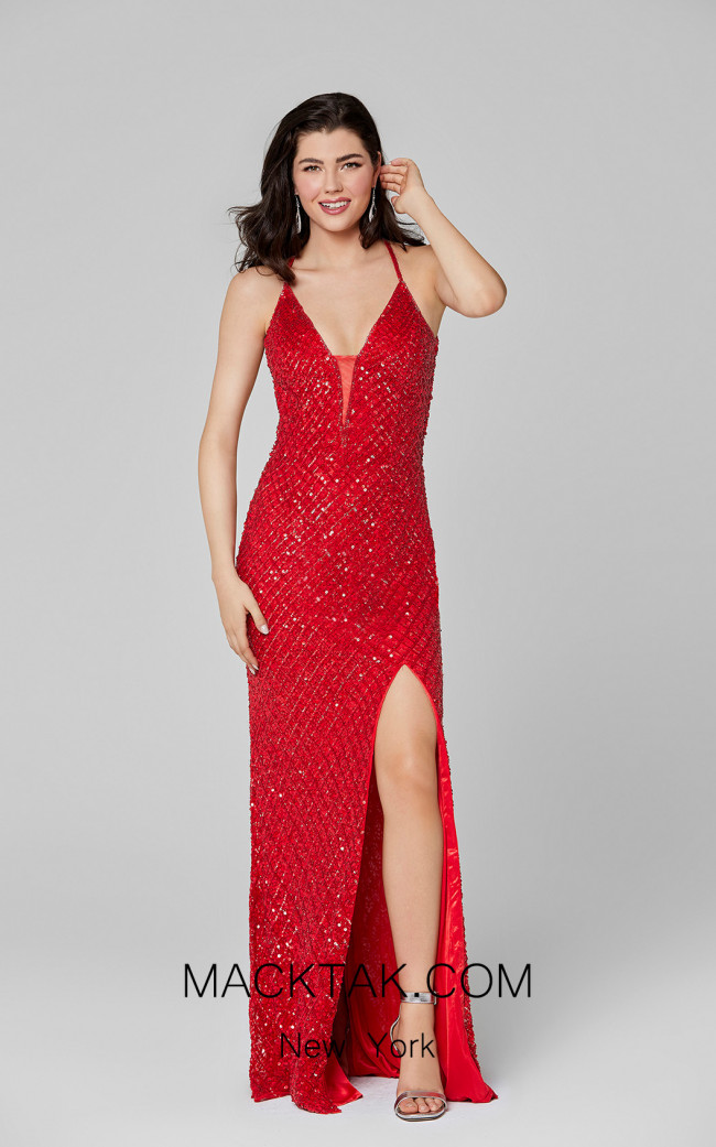 Primavera Couture 3418 Red Front Dress